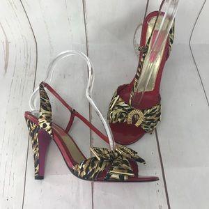 Betsey Johnson Leopard Print Strappy Heels Size 8